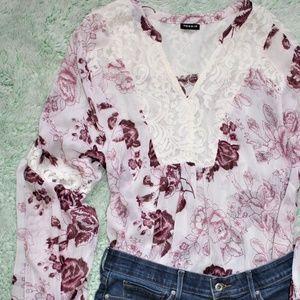 Torrid Lace Inset White & Purple Floral Blouse